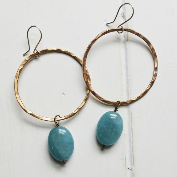 bronze hoops, aquamarine