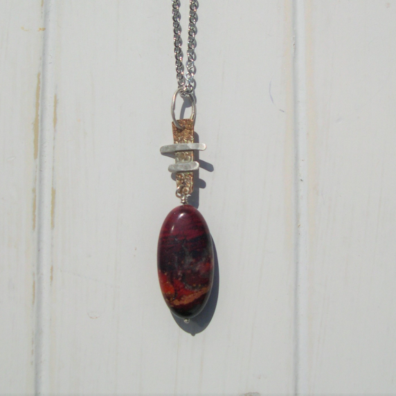 Bronze and sterling pendant with red jasper drop