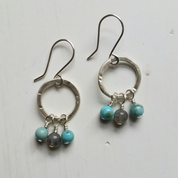 Sterling hoops, turquoise, labradorite