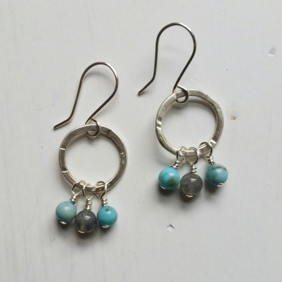 Sterling hoops, turquoise, labradorite