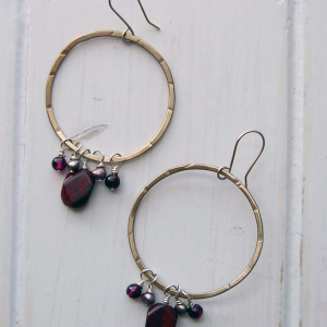 Hammered brass hoops with jasper, garnet and pearl
